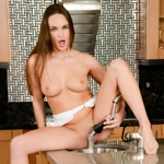 Naughty Teal Conrad showers her pussy in the kitchen sink.