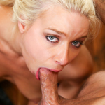 Sexy Anika Allbrite gets on her knees and gags on big cock.